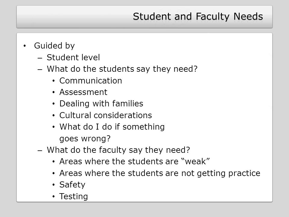 Student and Faculty Needs