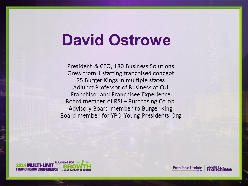 David Ostrowe President & CEO, 180 Business Solutions