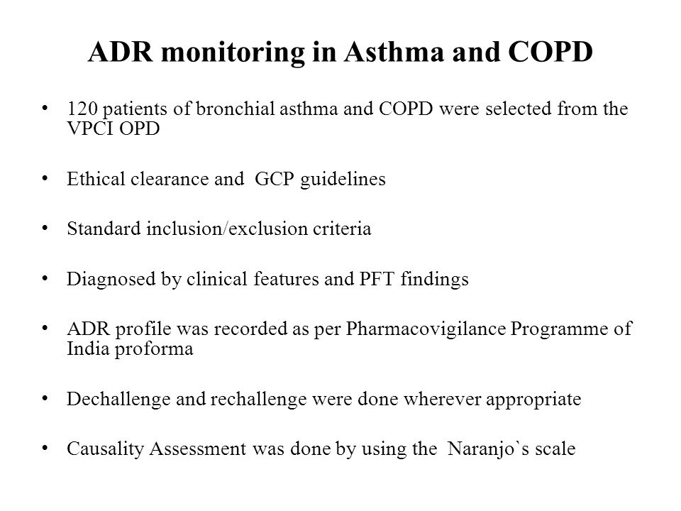ADR monitoring in Asthma and COPD