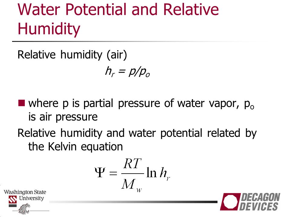 Water Potential and Relative Humidity