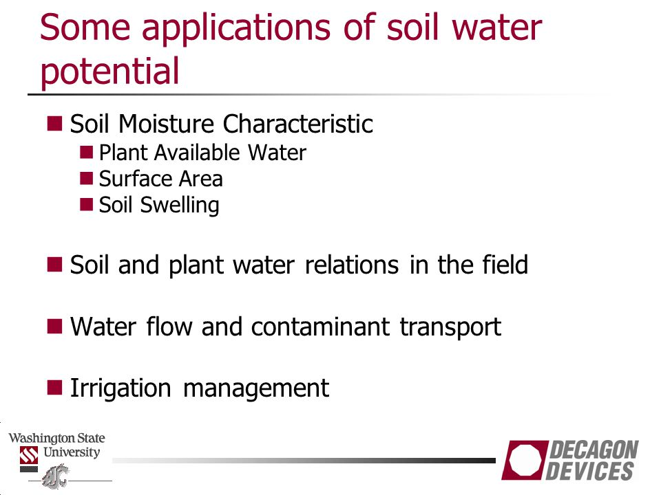 Some applications of soil water potential