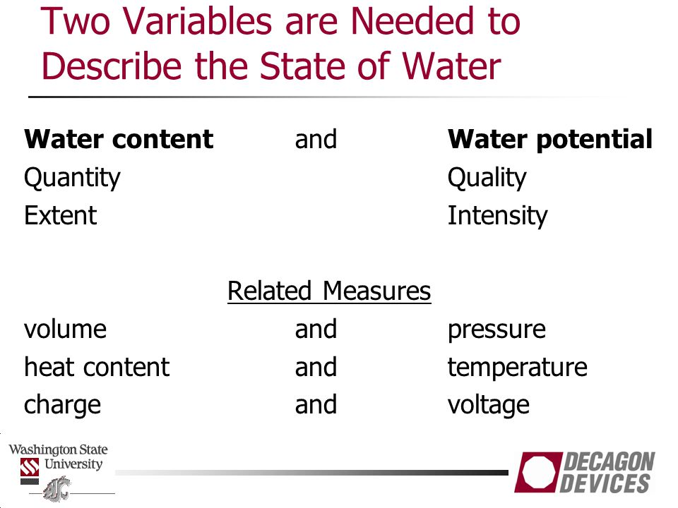 Two Variables are Needed to Describe the State of Water