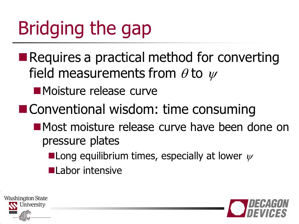 Bridging the gap Requires a practical method for converting field measurements from q to y. Moisture release curve.