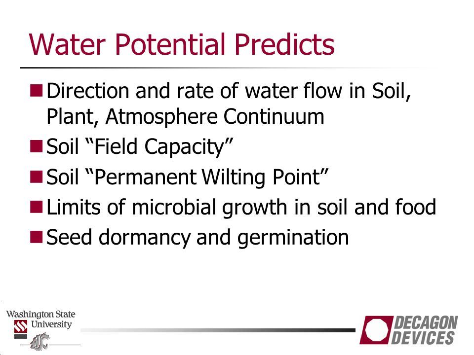 Water Potential Predicts