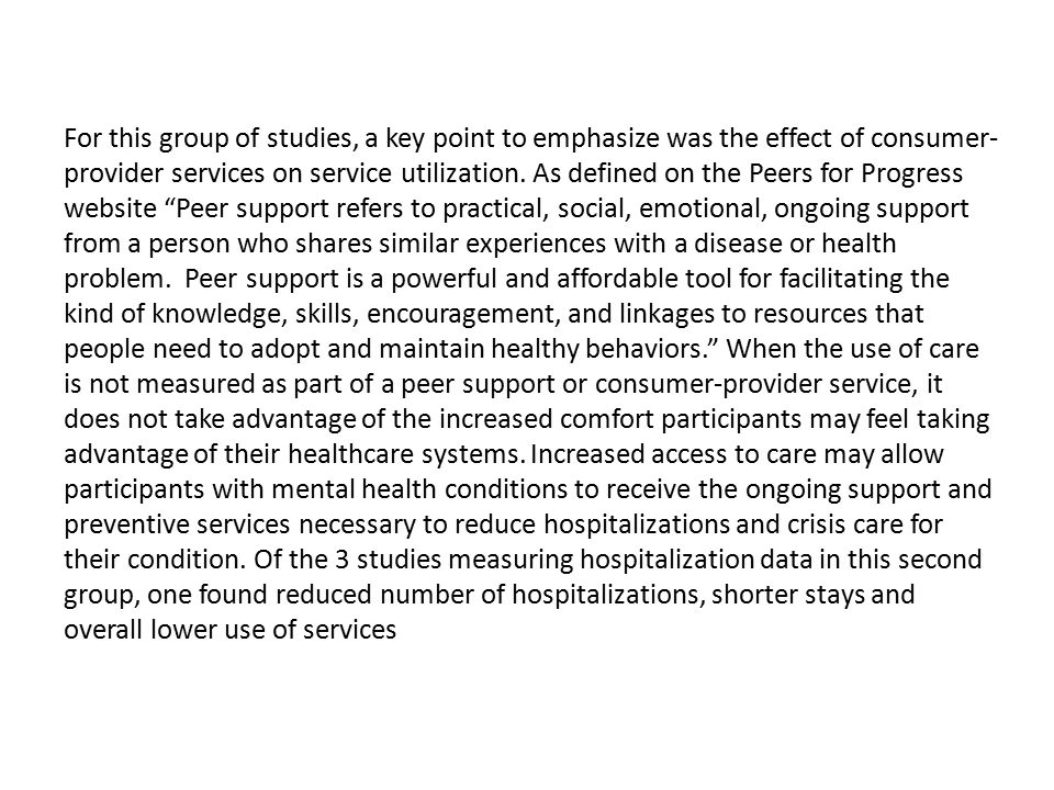 For this group of studies, a key point to emphasize was the effect of consumer-provider services on service utilization.