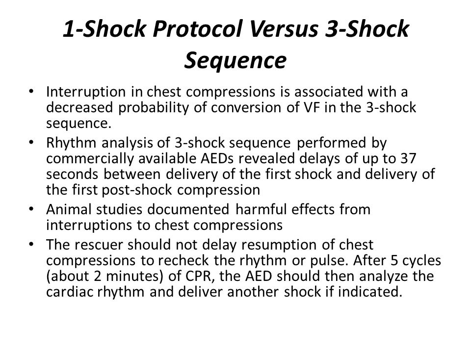1-Shock Protocol Versus 3-Shock Sequence