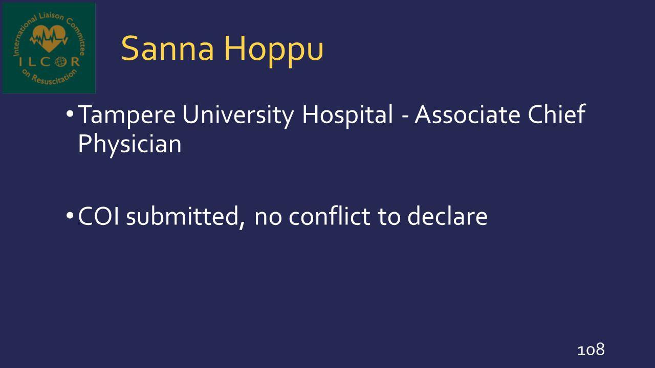 Sanna Hoppu Tampere University Hospital - Associate Chief Physician