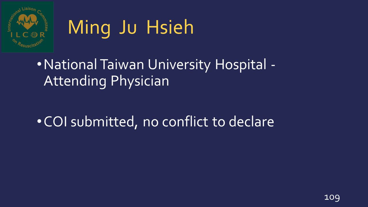 Ming Ju Hsieh National Taiwan University Hospital - Attending Physician.