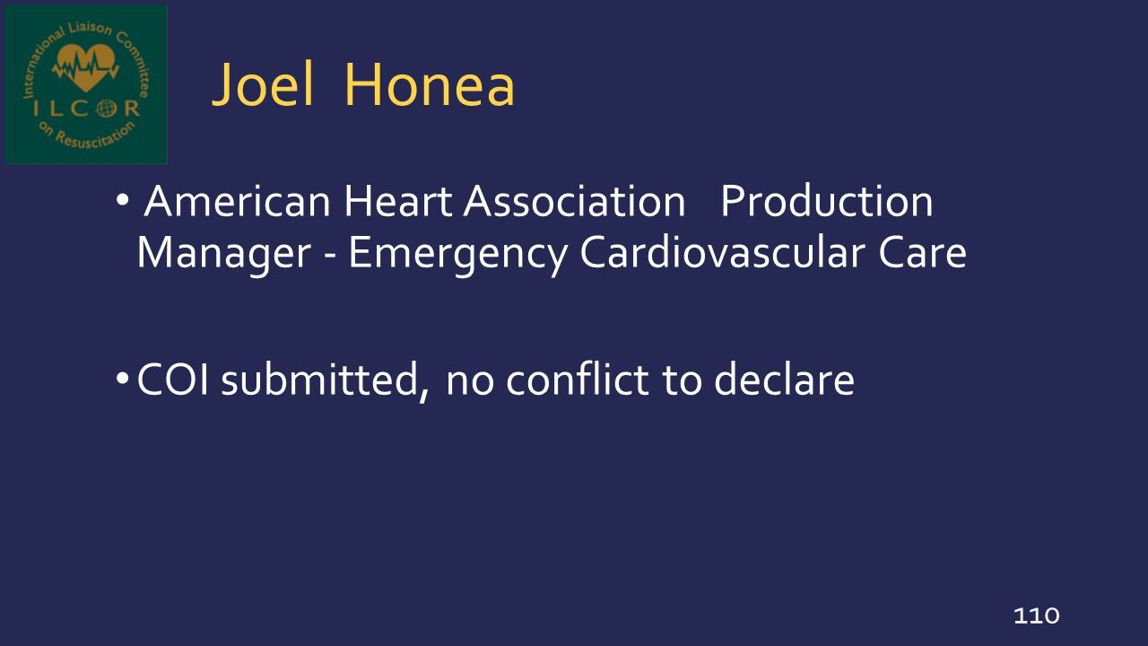 Joel Honea American Heart Association Production Manager - Emergency Cardiovascular Care.