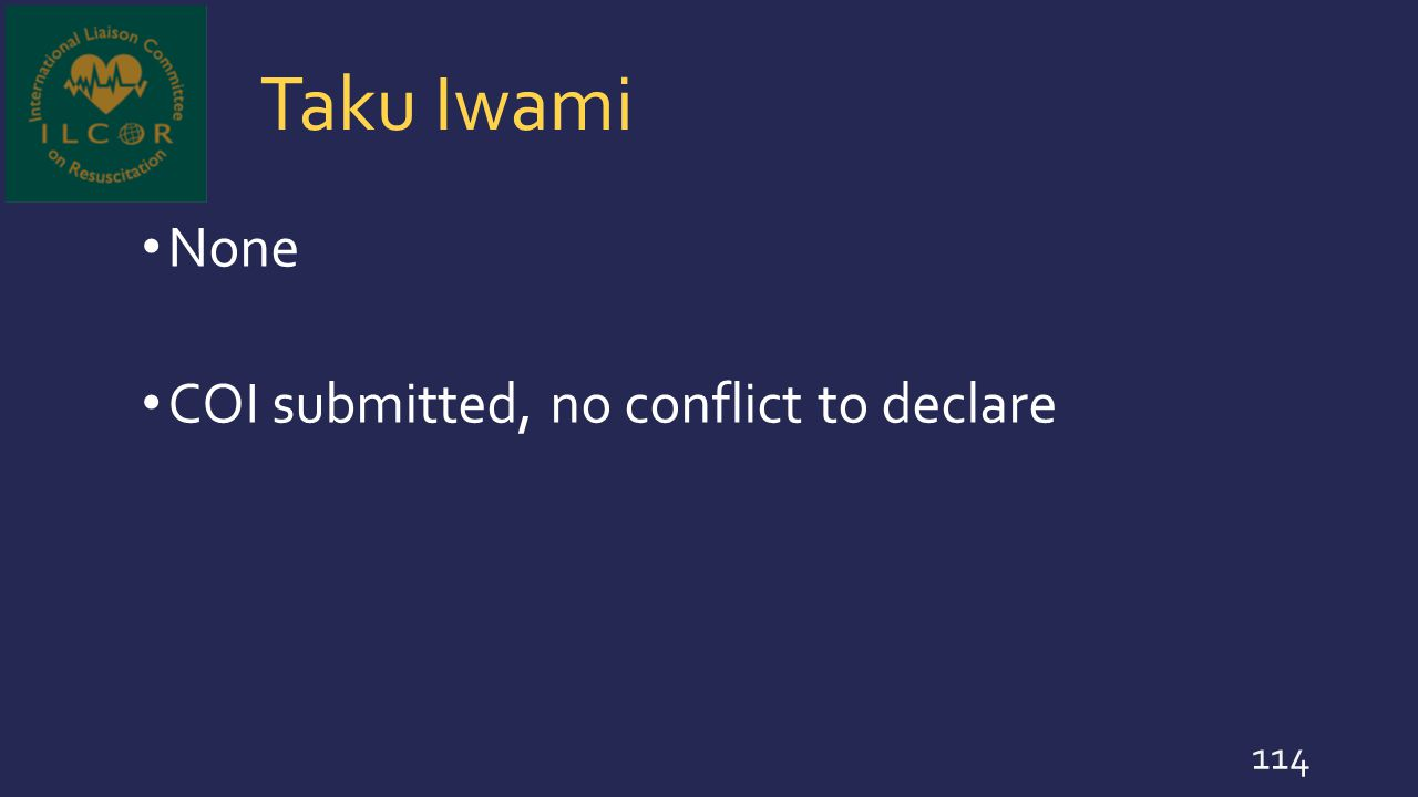 Taku Iwami None COI submitted, no conflict to declare