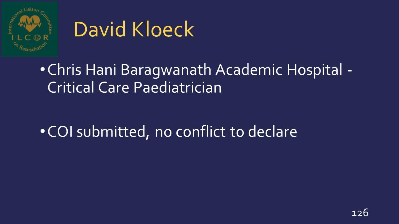 David Kloeck Chris Hani Baragwanath Academic Hospital - Critical Care Paediatrician.