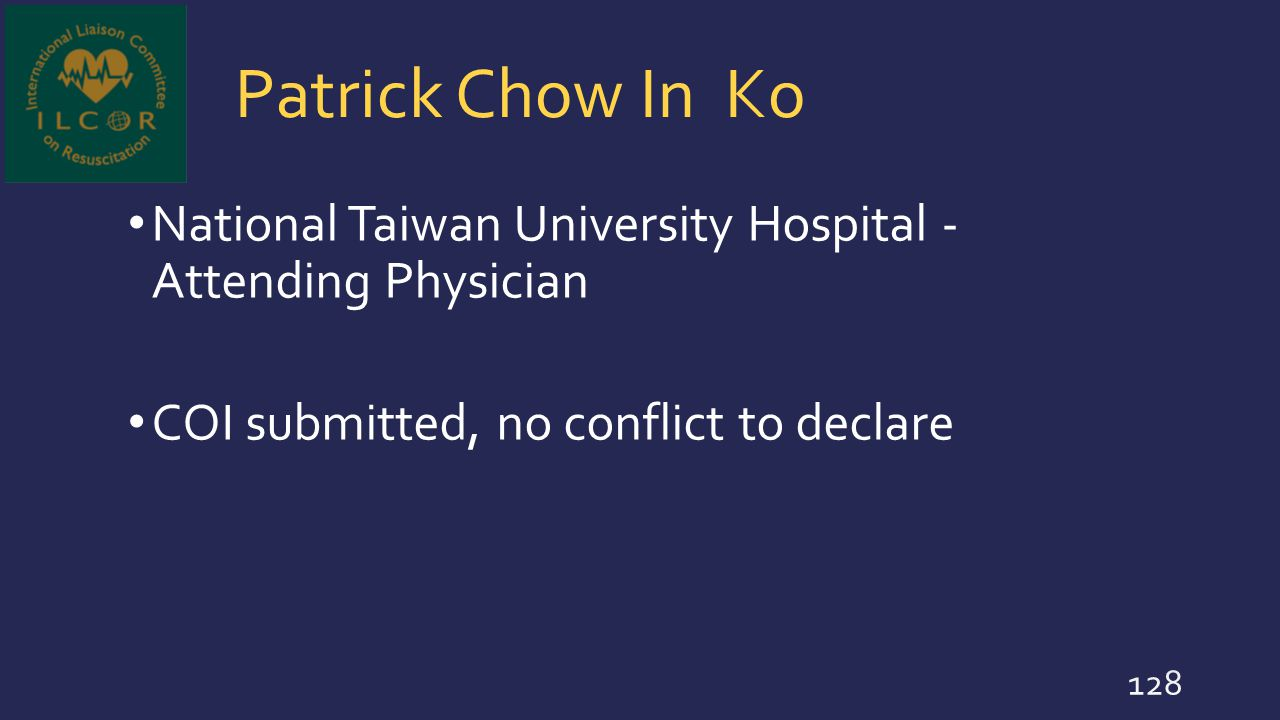 Patrick Chow In Ko National Taiwan University Hospital - Attending Physician.