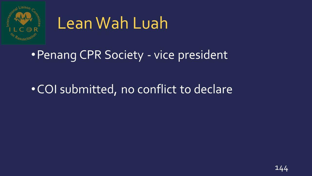 Lean Wah Luah Penang CPR Society - vice president
