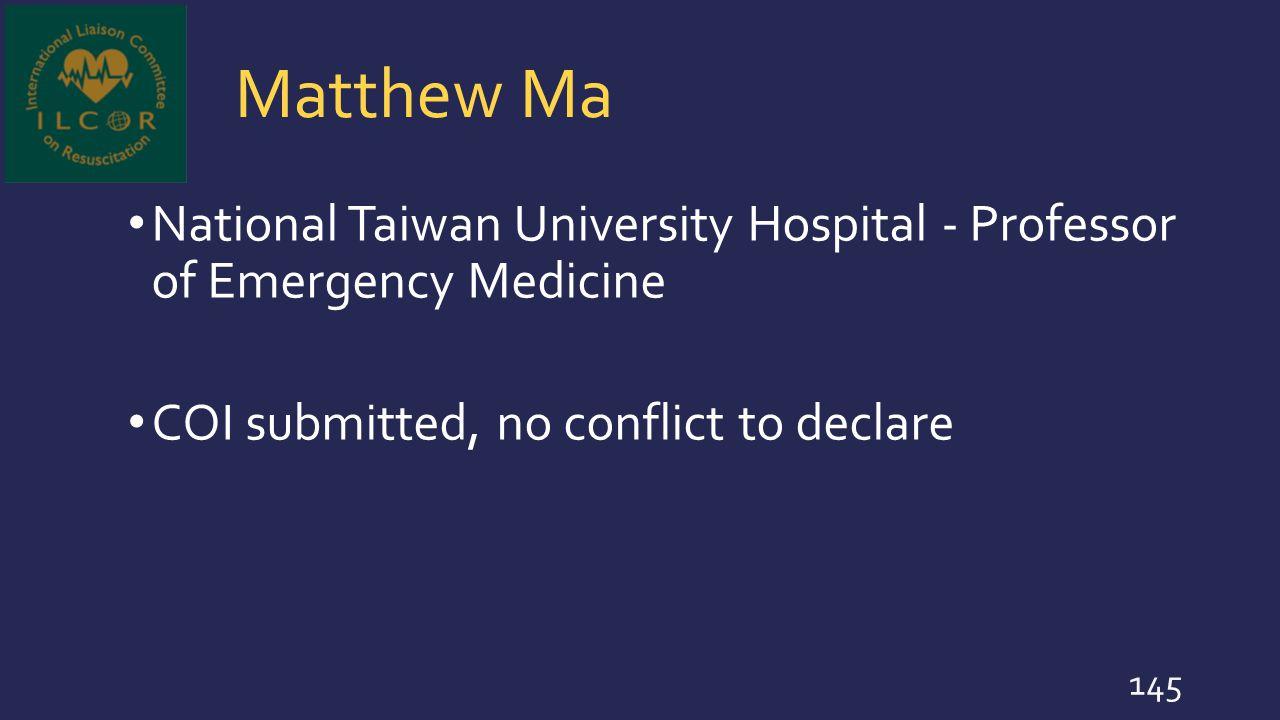 Matthew Ma National Taiwan University Hospital - Professor of Emergency Medicine.