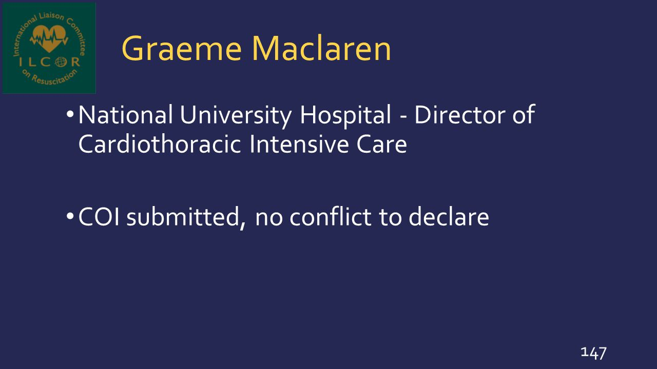 Graeme Maclaren National University Hospital - Director of Cardiothoracic Intensive Care.