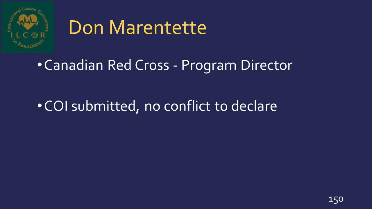 Don Marentette Canadian Red Cross - Program Director