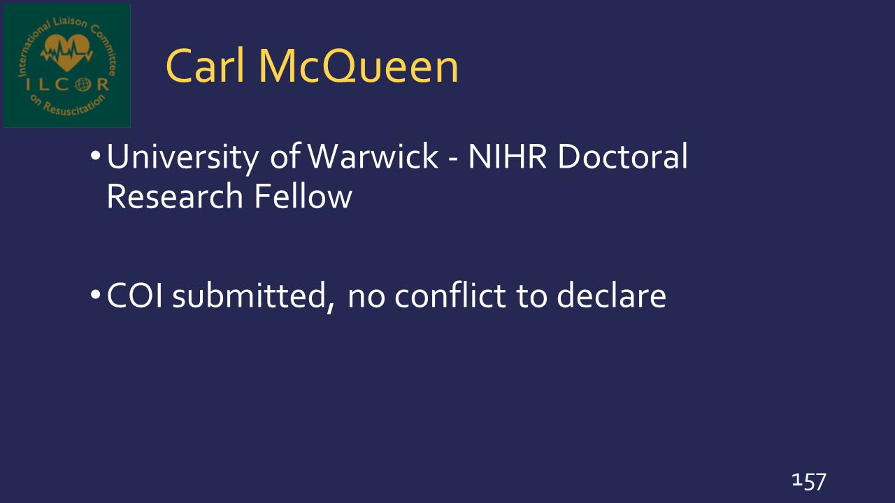 Carl McQueen University of Warwick - NIHR Doctoral Research Fellow