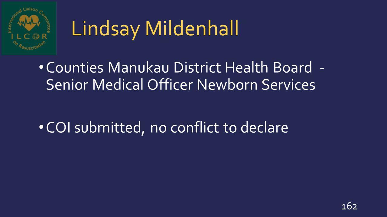 Lindsay Mildenhall Counties Manukau District Health Board - Senior Medical Officer Newborn Services.
