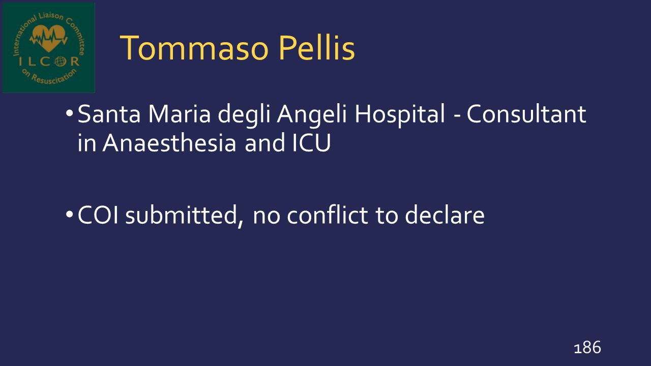 Tommaso Pellis Santa Maria degli Angeli Hospital - Consultant in Anaesthesia and ICU.