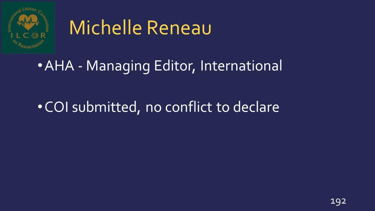 Michelle Reneau AHA - Managing Editor, International