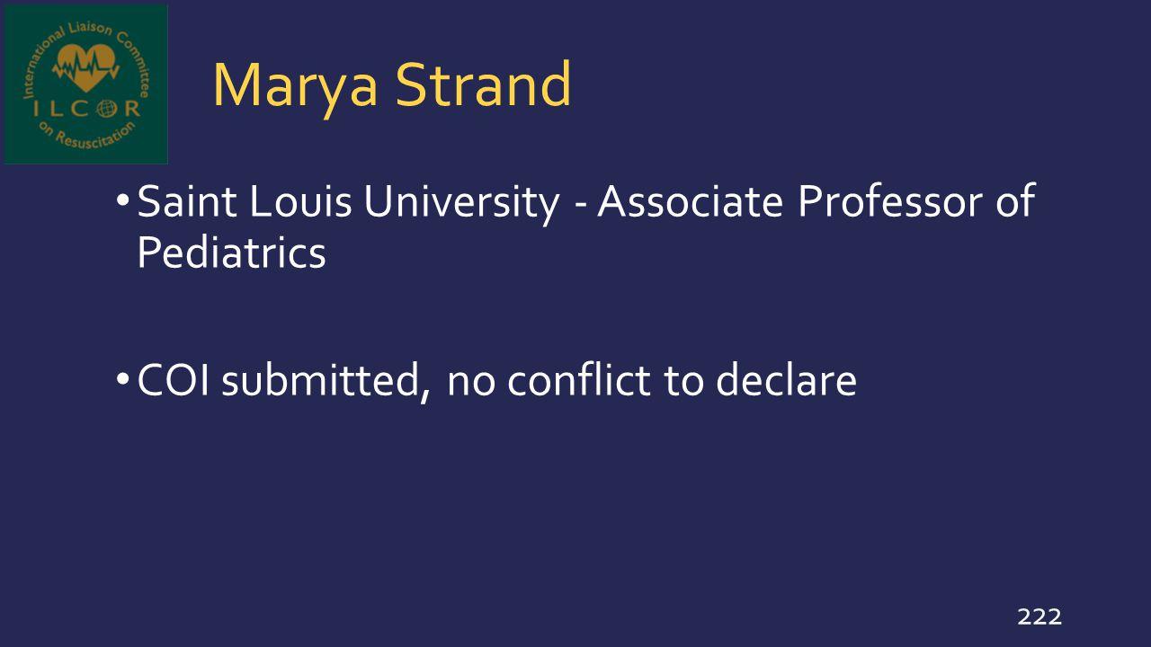 Marya Strand Saint Louis University - Associate Professor of Pediatrics.
