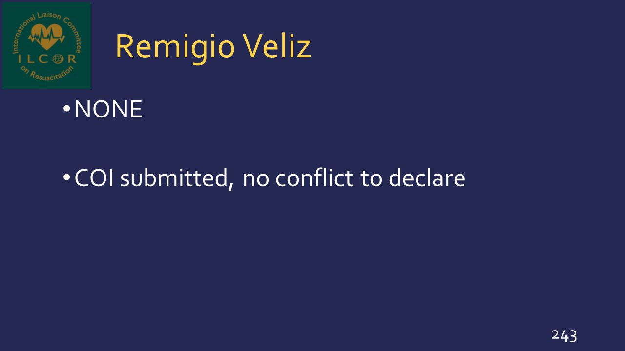 Remigio Veliz NONE COI submitted, no conflict to declare