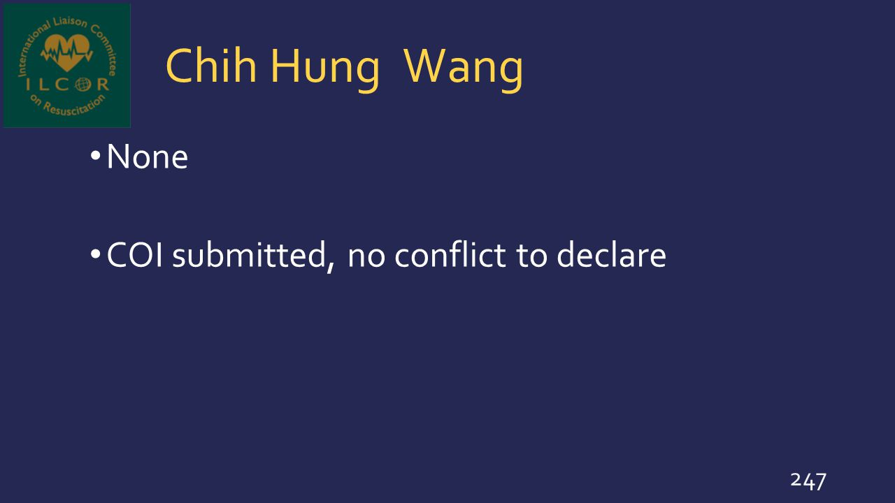 Chih Hung Wang None COI submitted, no conflict to declare