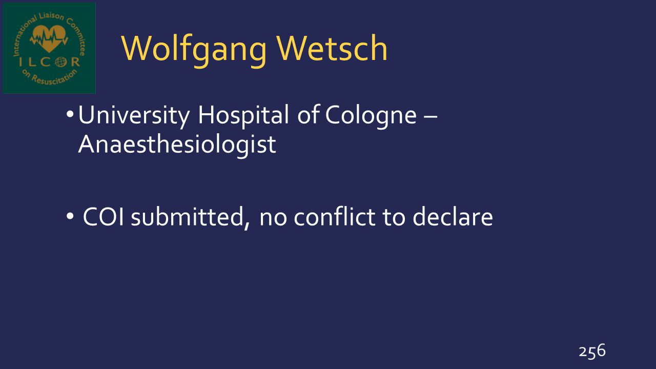 Wolfgang Wetsch University Hospital of Cologne – Anaesthesiologist
