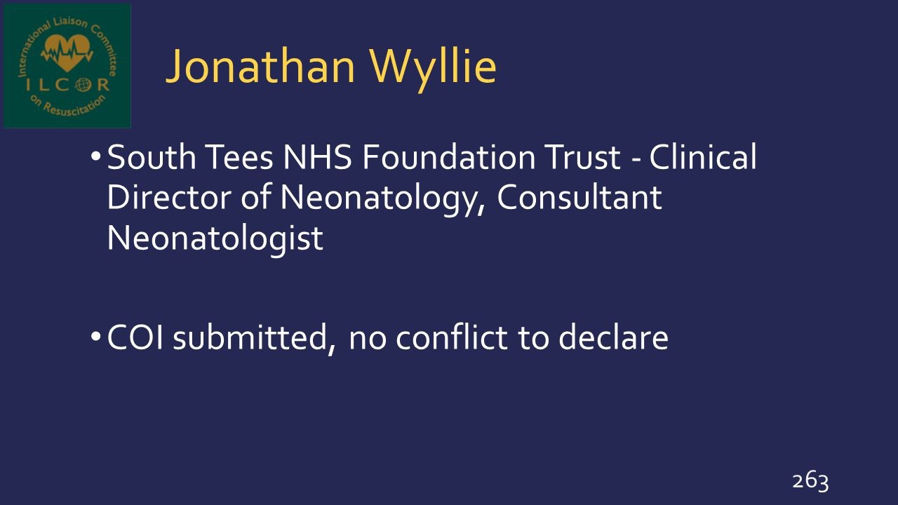 Jonathan Wyllie South Tees NHS Foundation Trust - Clinical Director of Neonatology, Consultant Neonatologist.