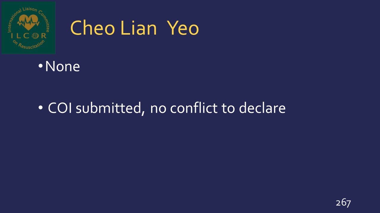 Cheo Lian Yeo None COI submitted, no conflict to declare