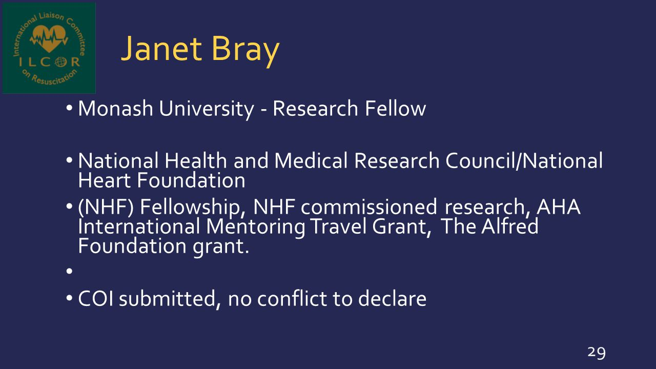 Janet Bray Monash University - Research Fellow