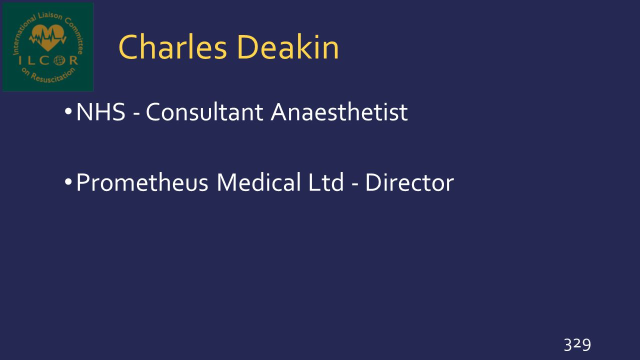 Charles Deakin NHS - Consultant Anaesthetist