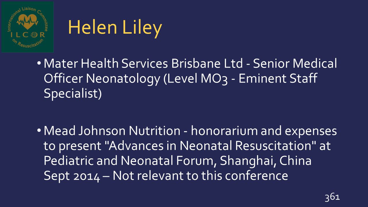 Helen Liley Mater Health Services Brisbane Ltd - Senior Medical Officer Neonatology (Level MO3 - Eminent Staff Specialist)