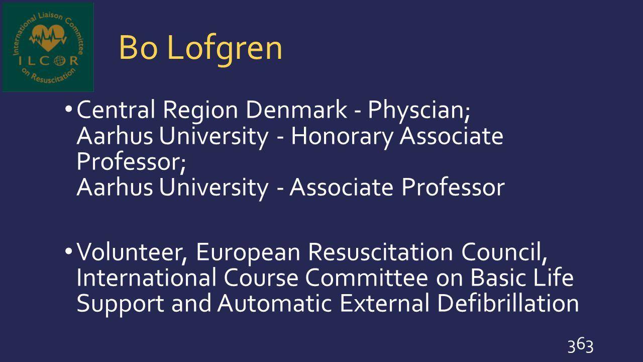 Bo Lofgren Central Region Denmark - Physcian; Aarhus University - Honorary Associate Professor; Aarhus University - Associate Professor.
