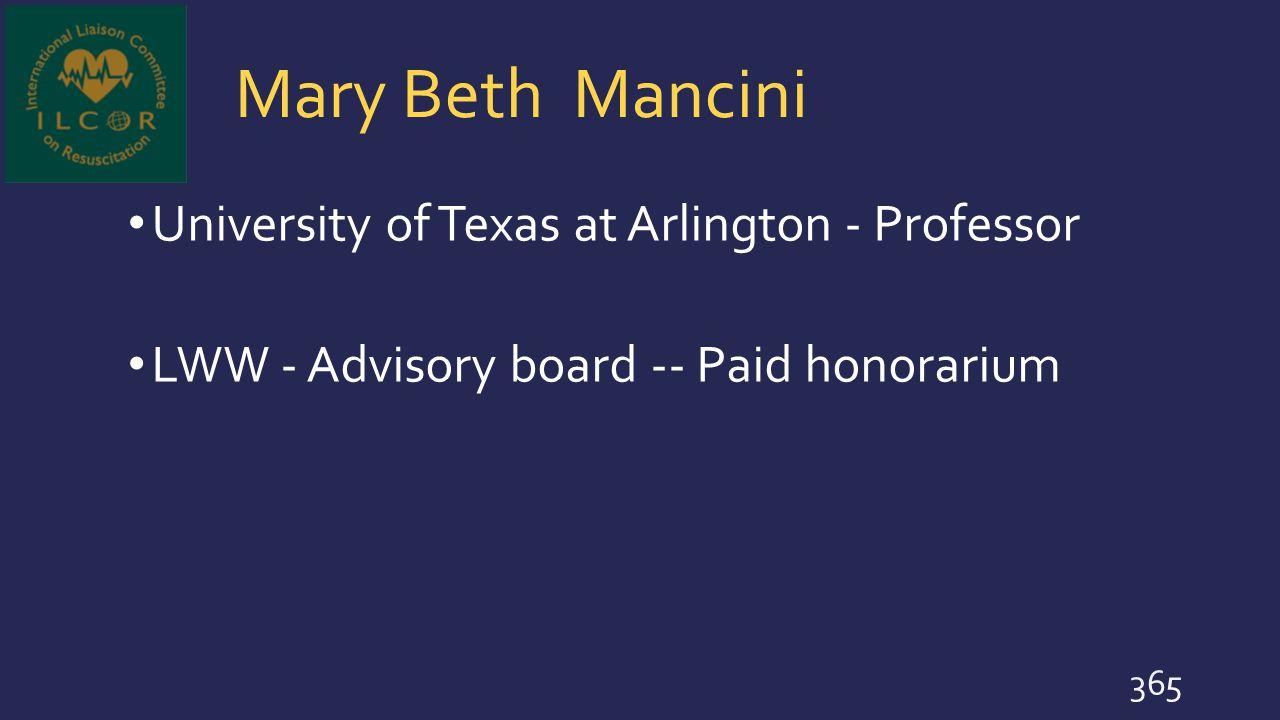 Mary Beth Mancini University of Texas at Arlington - Professor