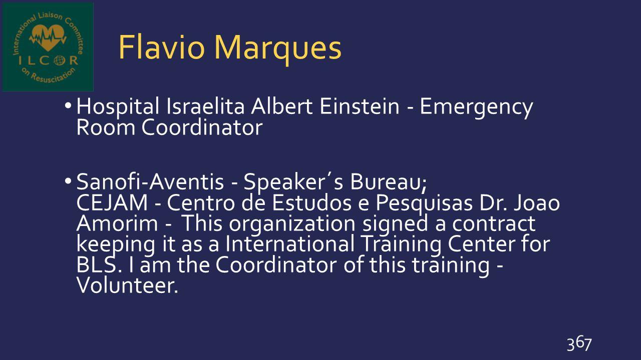 Flavio Marques Hospital Israelita Albert Einstein - Emergency Room Coordinator.