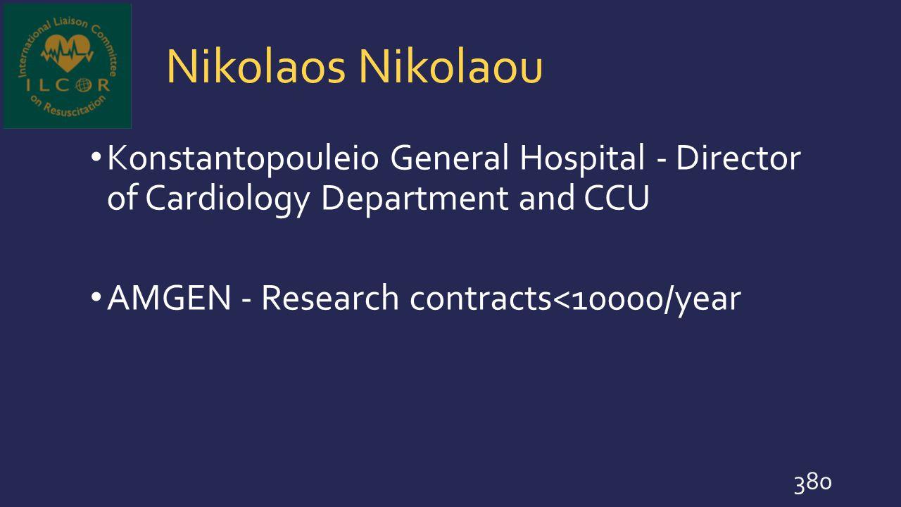 Nikolaos Nikolaou Konstantopouleio General Hospital - Director of Cardiology Department and CCU.