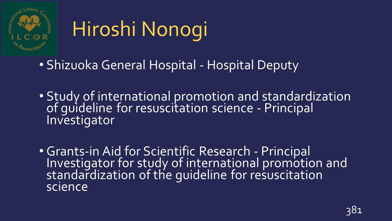 Hiroshi Nonogi Shizuoka General Hospital - Hospital Deputy