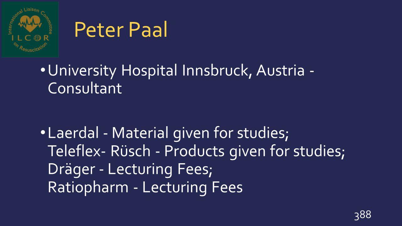 Peter Paal University Hospital Innsbruck, Austria - Consultant