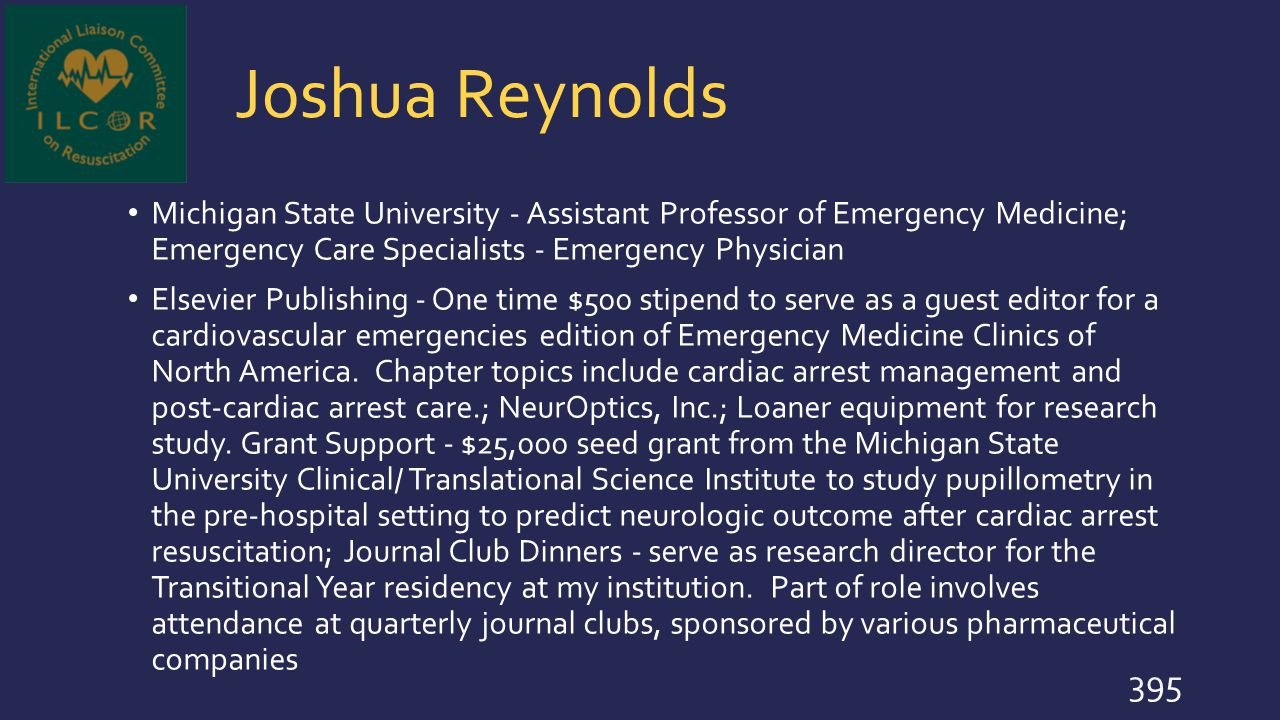 Joshua Reynolds Michigan State University - Assistant Professor of Emergency Medicine; Emergency Care Specialists - Emergency Physician.