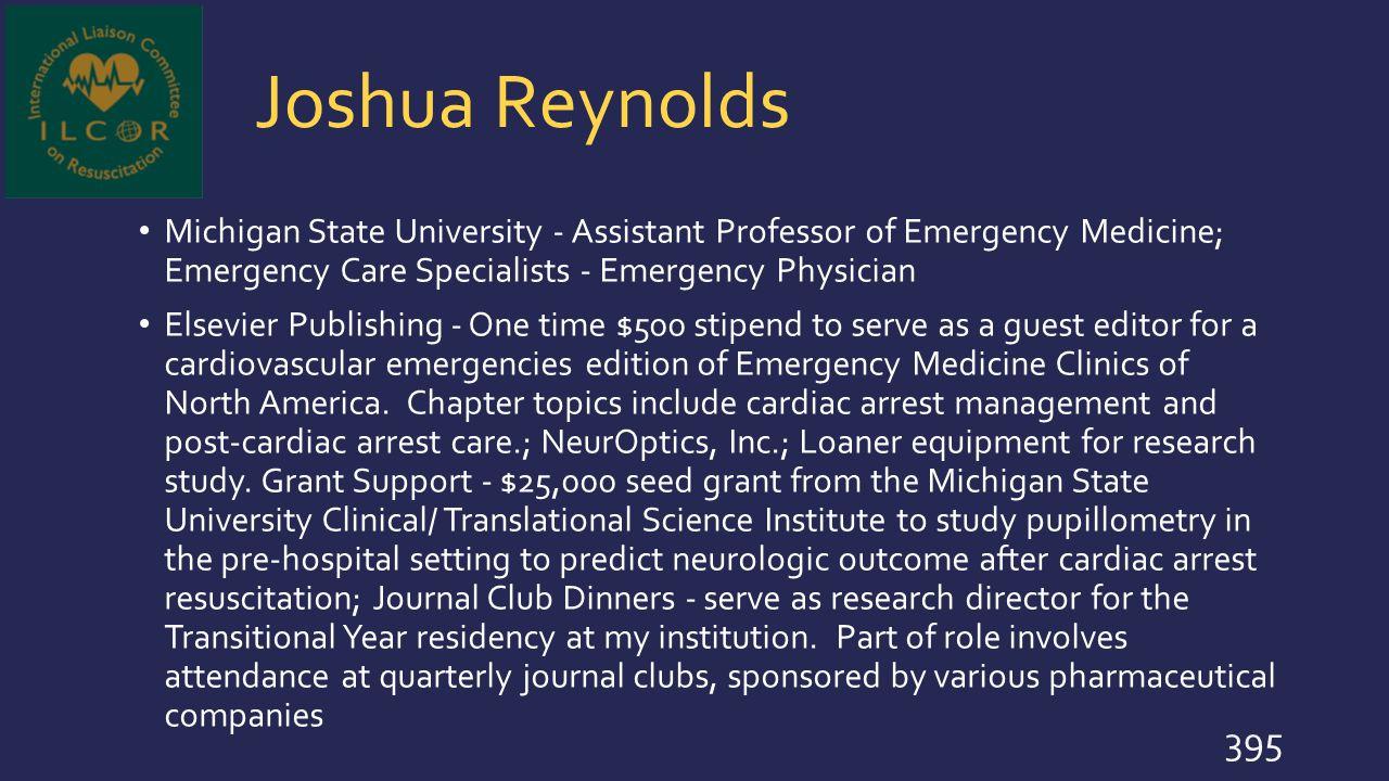 Joshua Reynolds Michigan State University - Assistant Professor of Emergency Medicine; Emergency Care Specialists - Emergency Physician.