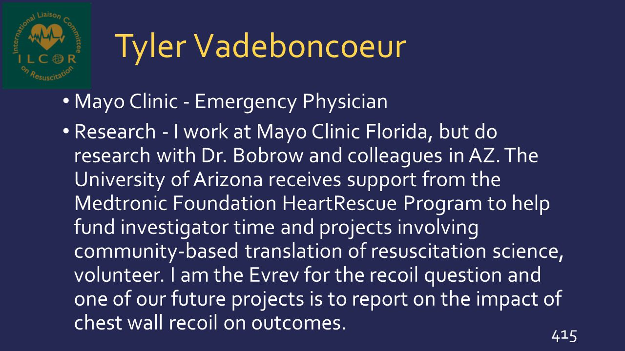 Tyler Vadeboncoeur Mayo Clinic - Emergency Physician