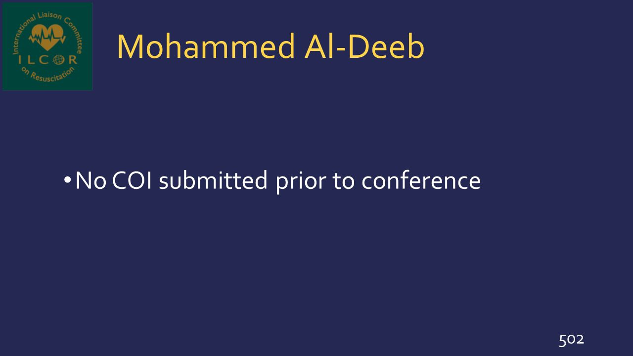 Mohammed Al-Deeb No COI submitted prior to conference