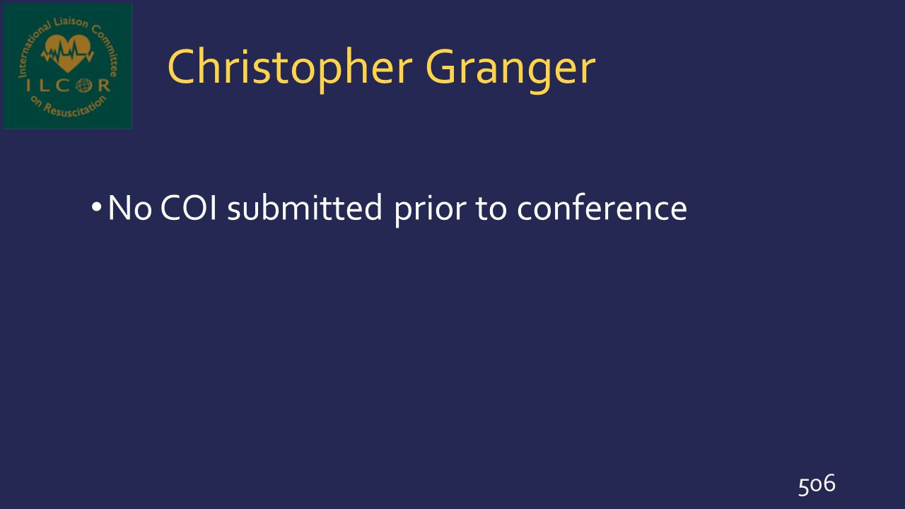 Christopher Granger No COI submitted prior to conference