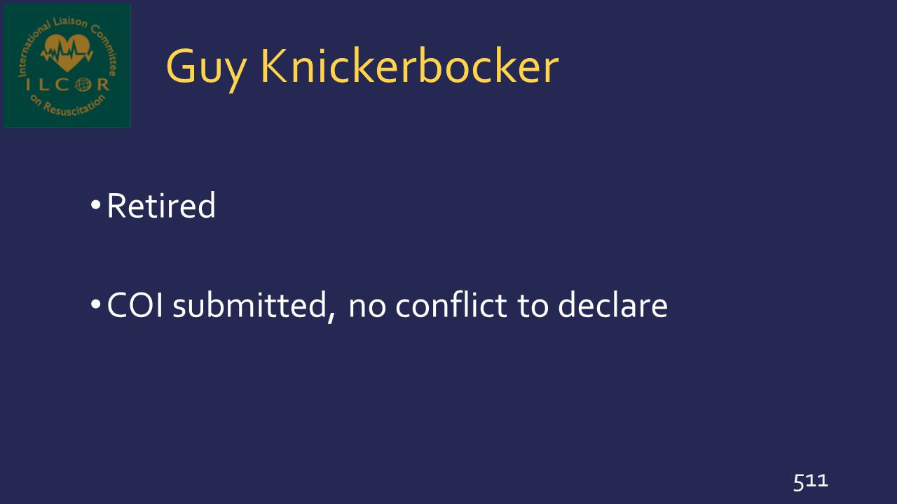 Guy Knickerbocker Retired COI submitted, no conflict to declare