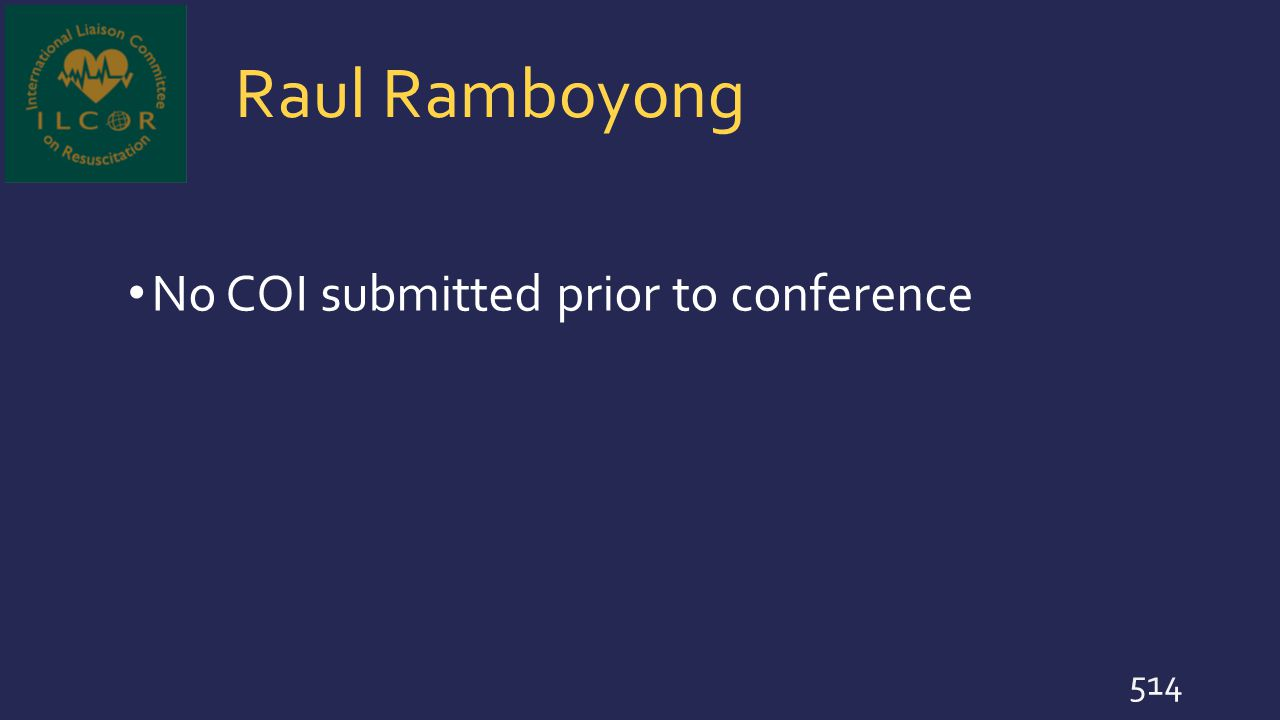 Raul Ramboyong No COI submitted prior to conference