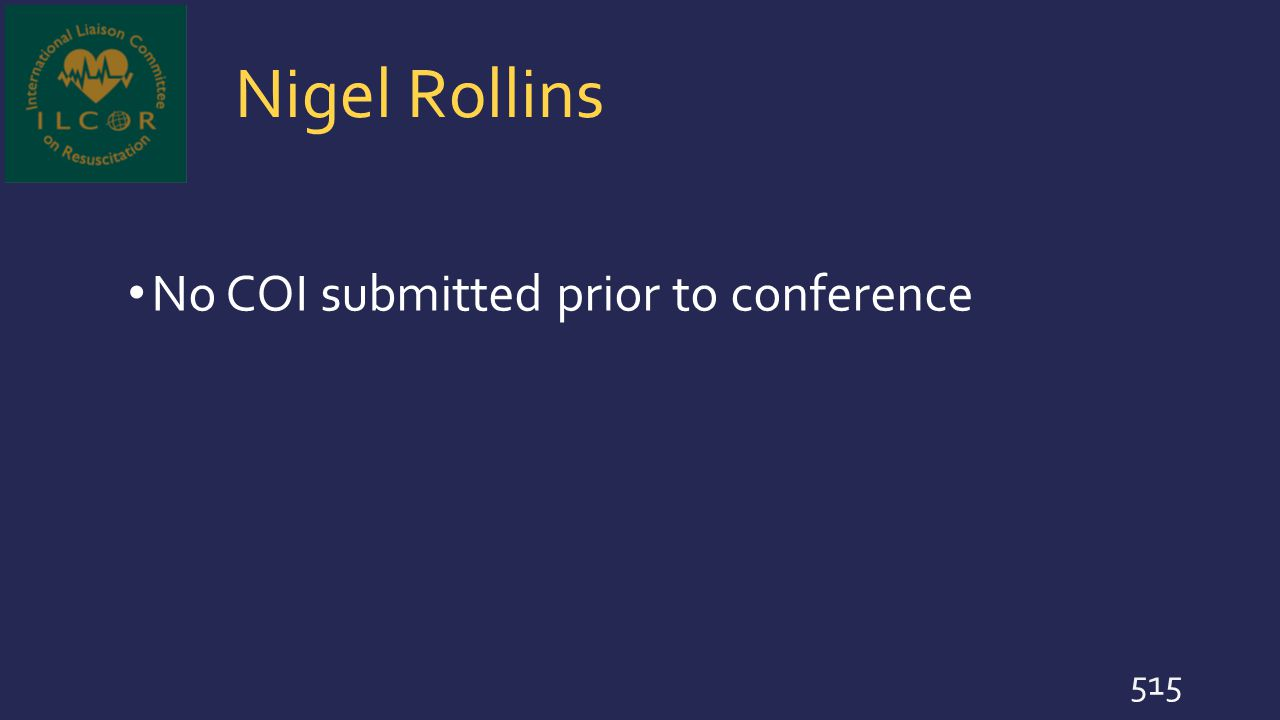 Nigel Rollins No COI submitted prior to conference