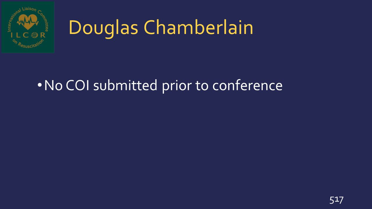 Douglas Chamberlain No COI submitted prior to conference