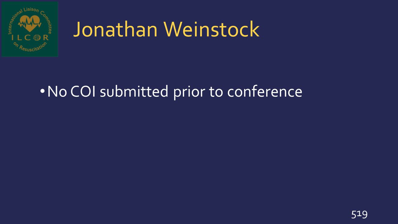 Jonathan Weinstock No COI submitted prior to conference
