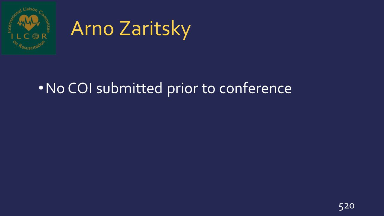 Arno Zaritsky No COI submitted prior to conference